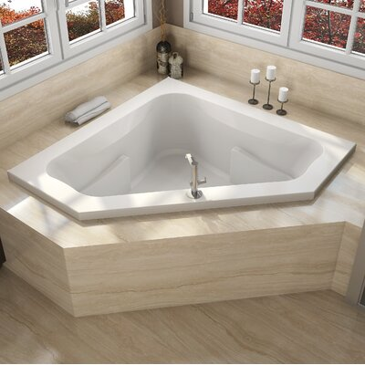 "Signature® 60"" x 60"" Drop In Bathtub Finish: White, Drain Location: Right, Additional Features: Whirlpool Bathtub"