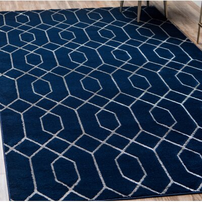 Glam Navy Blue Area Rug