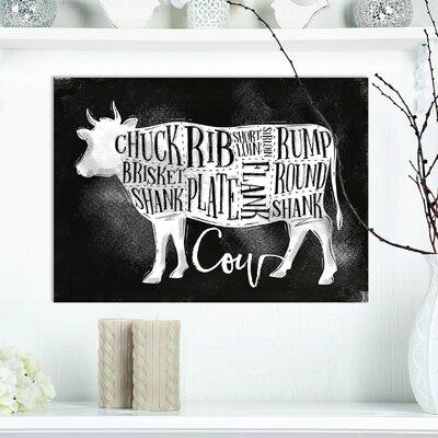 """Farmhouse 'Beef Cutting Scheme Chalk' Textual Art on Wrapped Canvas Size: 12"""" H x 20"""" W x 1"""" D 3F1A603B6A5546BB952C3E1C81890E7D"""