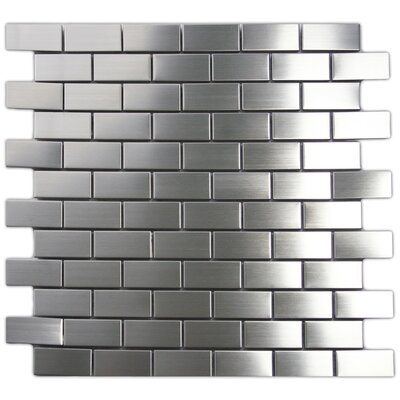 """1"""" X 2"""" Stainless Steel Mosaic Tile In Silver"""