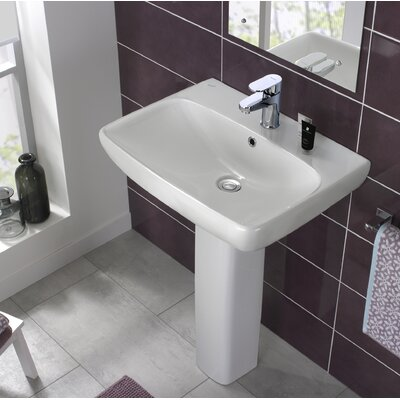 "Energy Ceramic 24"" Pedestal Bathroom Sink with Overflow"
