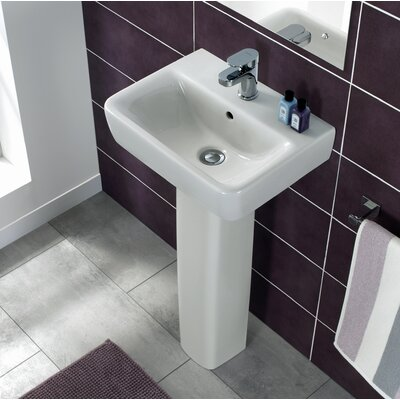 "Comprimo Ceramic 18"" Pedestal Bathroom Sink with Overflow"
