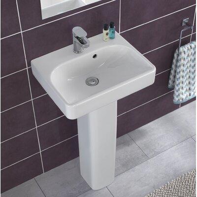 "Smyle Ceramic 18"" Pedestal Bathroom Sink with Overflow"