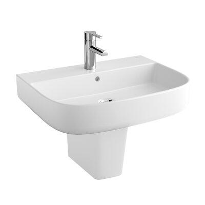 "Emma Ceramic 24"" Semi-Pedestal Bathroom Sink with Overflow"