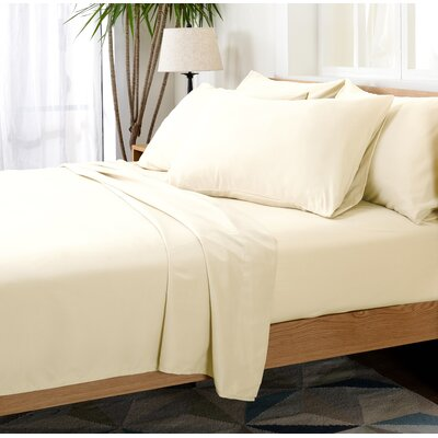 Luxurious Microfiber Sheet Set Color: Ivory, Size: Queen