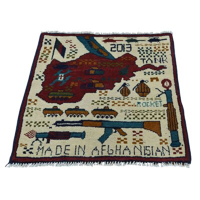 One-of-a-kind Afghan Baluch War Tanks Guns And Grenades Hand-knotted Ivory Area Rug