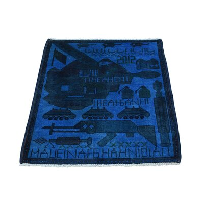 One-of-a-kind Overdyed Afghan War Sample Oriental Hand-knotted Blue Area Rug