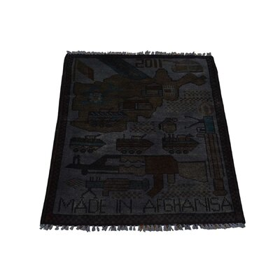 One-of-a-kind Overdyed Afghan War Tanks And Guns Hand-knotted Gray Area Rug