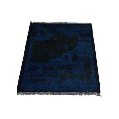 One-of-a-kind Afghan War Guns And Tanks Overdyed Hand-knotted Blue Area Rug
