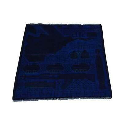 One-of-a-kind Overdyed Afghan War Map And Gun Oriental Hand-knotted Blue Area Rug