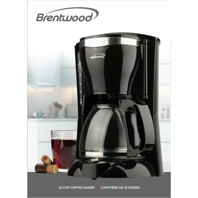 12-Cup Brentwood Coffee Maker BWTS217_Brentwood_12cup_coffee_maker_black