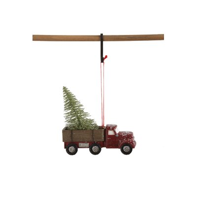 Vintage Truck with Christmas Tree Hanging Figurine