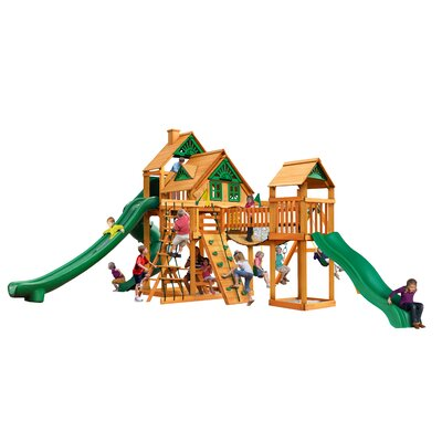 Treasure Trove II Treehouse Swing Set Color: Green/Natural