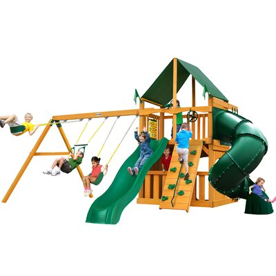 Mountaineer Clubhouse Swing Set Finish: Green/Natural