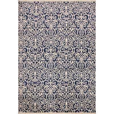 Image of One-of-a-Kind Andreas Hand Knotted Wool Navy/Cream Area Rug