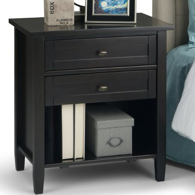 Warm Shaker 2 Drawer Nightstand Color: Dark Brown AXWSH-BS-BR