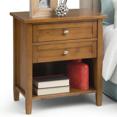 Warm Shaker 2 Drawer Nightstand Color: Honey Brown AXWSH-BS-HB