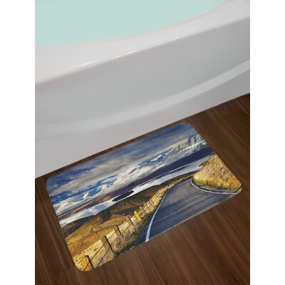 Ambesonne Landscape Bath Mat by, Pike Road to the River and Snowy Mountain in Gradient Colours Sky Scenery, Plush Bathroom Decor Mat with Non Slip Backing, 29.5 W X 17.5 W Inches, White Blue Yellow 76C6632EBE2A4B098198982767CCF54F