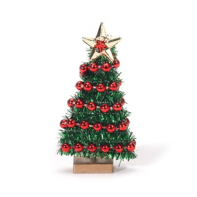 Miniature 0.2' Green Artificial Christmas Tree with Bead Garland 7D00D776CE6542A6AD7C9B4682993DEB