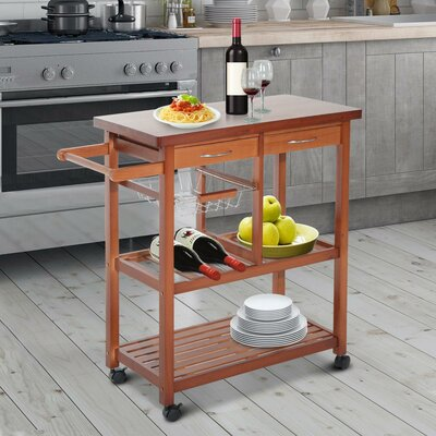 Atlas Wooden Rolling Storage Microwave Kitchen Cart with Drawers 0AE60AAE50D346E097E898F87D72CA2D