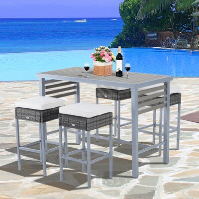 Rosa 5 Piece Patio Bar Height Dining Set with Cushions