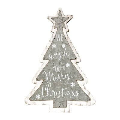 Daniella Merry Christmas Corrugated Tree Sign Wall Décor