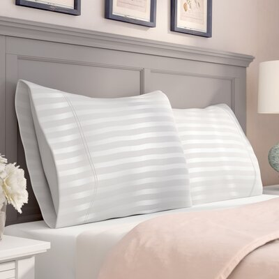 Milne 800 Thread Count Egyptian Quality Cotton Stripe Pillow Cases Color: White