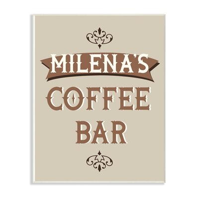 'Personalized Tan and Brown Coffee Bar Typography with Scroll' Textual Art on Wood