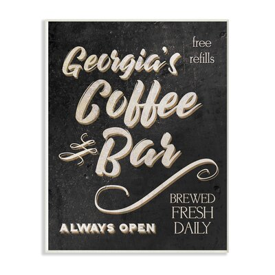 'Personalized Black and White Coffee Bar Sign - Always Open' Textual Art on Wood