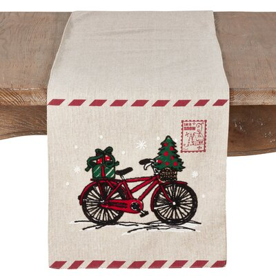 Naveen Bicycle and Stamp Holiday Table Runner