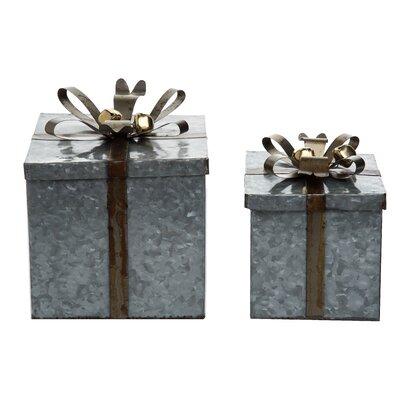 2 Piece Galvanized Metal Square Gift Box Set