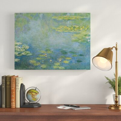 'Waterlilies' by Claude Monet Oil Painting Print on Wrapped Canvas