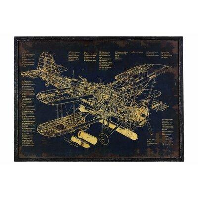 'Aircraft Blueprint' Framed Print on Wood 00DFA015307642E894EE405A2E824206