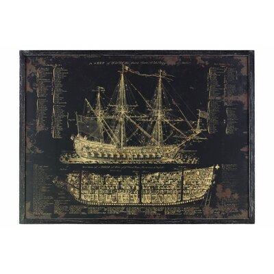 'Galleon Blueprint' Framed Print on Wood 666468FB13EB4D12BF227BBF47677577