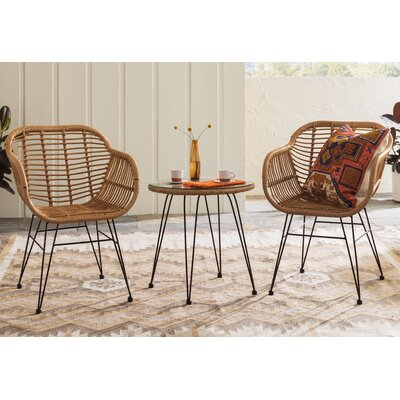 Conn 3 Piece Rattan 2 Person Seating Group with Cushions