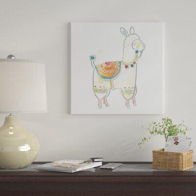 'Blockprint Llama I' Graphic Art Print on Canvas