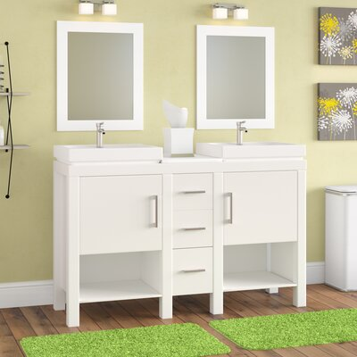 "Chauncy 60"" Wood Base Double Sink Bathroom Vanity Set with Mirror"