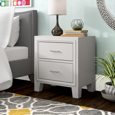 Leporis 2 Drawer Nightstand Color: White