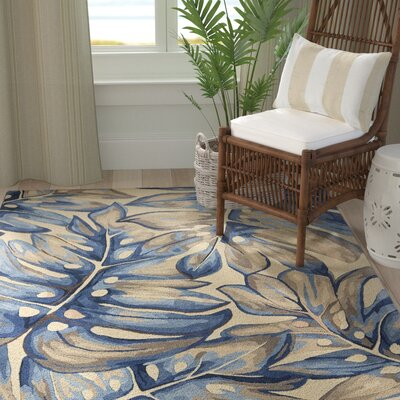 Springwater Palms Hand-Tufted Wool Blue Area Rug Rug Size: Runner 2'6