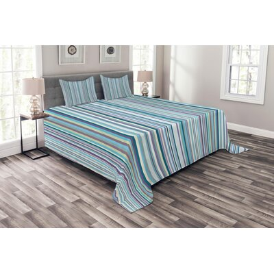 Ambesonne Striped Coverlet Set Queen Size, Blue Purple Teal Aqua Lavender Coloured Vertical Stripes Geometric Abstract Vintage, Decorative Quilted 3 Piece Bedspread Set with 2 Pillow Shams, Multicolor