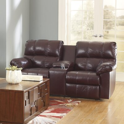 Kennett Double Reclining Sofa Upholstery: Burgundy, Type: Power