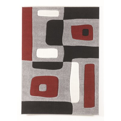 Red / Gray Geometric Area Rug