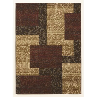 Vintage Casual Red / Gold Geometric Area Rug
