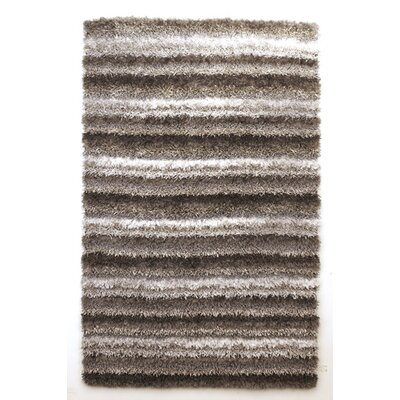 White/Brown Striped Area Rug