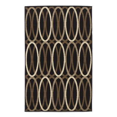 Overlapping Ovals Black/Brown Area Rug