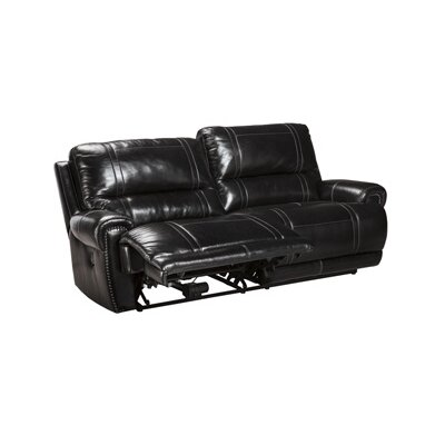 Paron Leather Sofa Upholstery: Black, Type: Manual