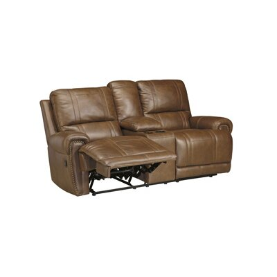 Paron Leather Reclining Sofa Type: Power, Upholstery: Black