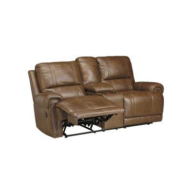 Paron Leather Sofa Type: Power, Upholstery: Black