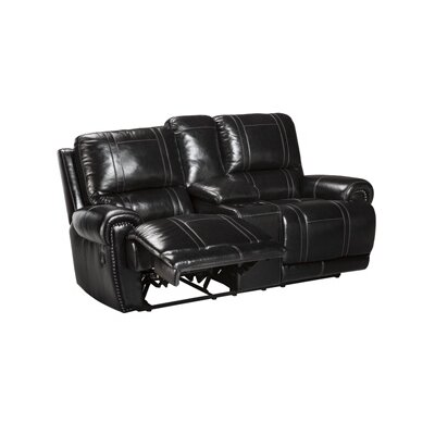 Paron Leather Reclining Sofa Type: Manual, Upholstery: Black