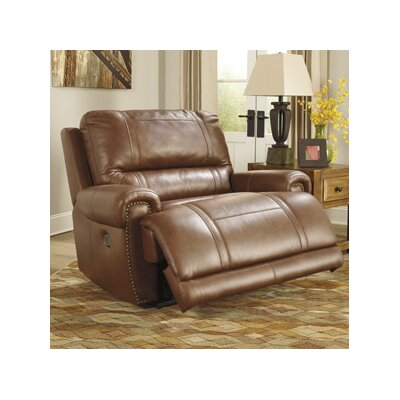 Paron Leather Wall Hugger Recliner Reclining Type: Power, Upholstery: Brown